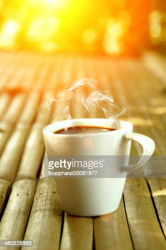 morning coffee on the bamboo : Stockfoto