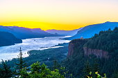 Morning dawn over columbia river gorge