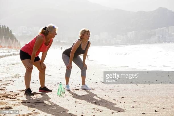 Morning exercising on the beach