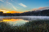 Morning foggy landscape image of Nemunas river