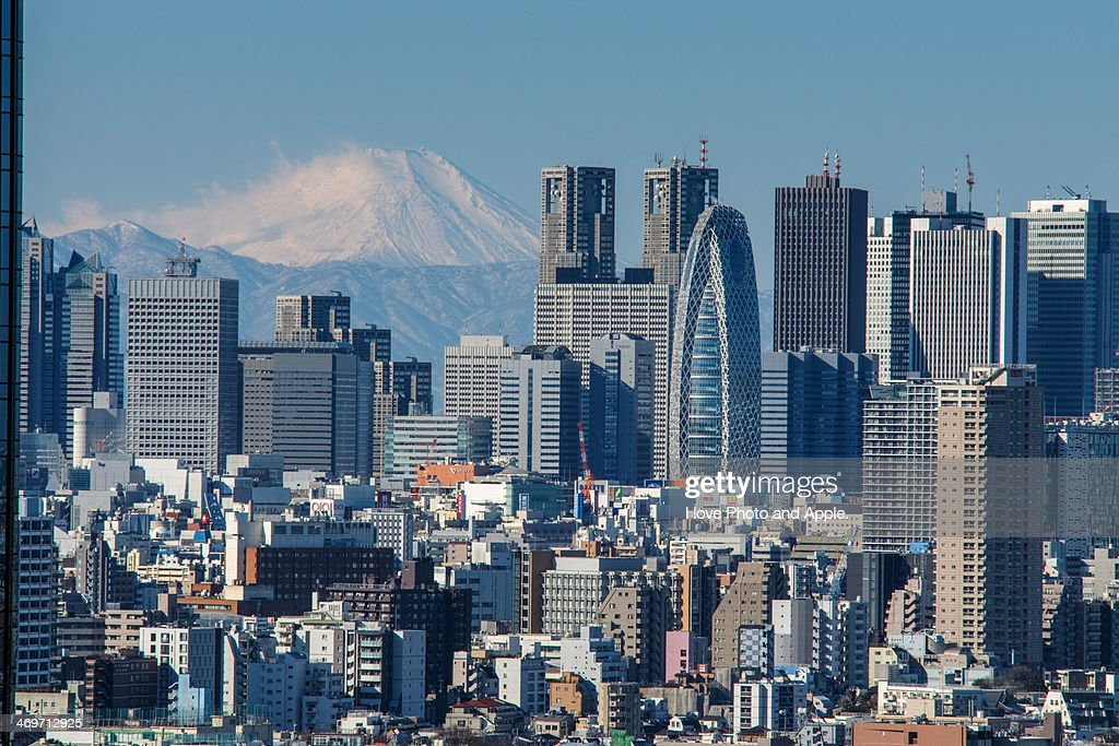 Morning Fuji over Shinjuku skyscrapers : Stock Photo