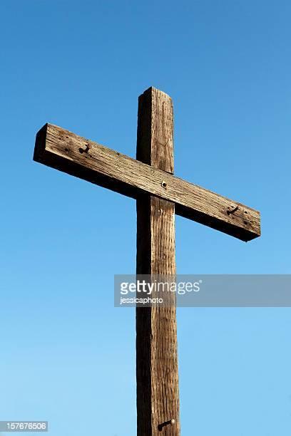 Morning Glory. Christian Cross Made of Wood. Crucifix