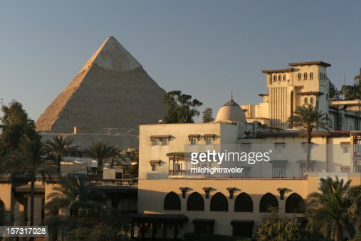 Morning in Cairo city near Egyptian Khafre Pyramid of Chephren