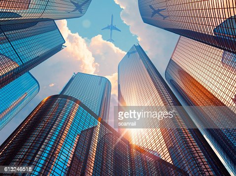Morning in downtown district : Stock Photo