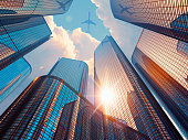 Creative abstract business corporate construction industry and real estate financial concept: 3D render illustration of beautiful morning urban scenery with blue modern high tall glass reflective skys