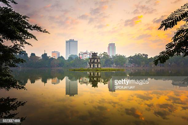 Morning in Hoan Kiem Lake of Hanoi