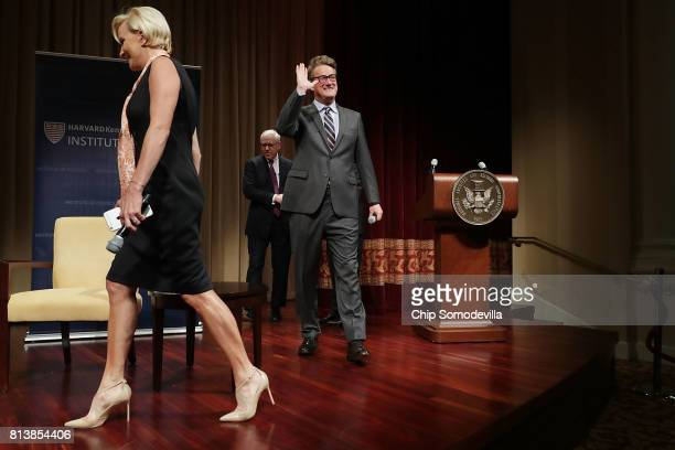 MSNBC 'Morning Joe' hosts Joe Scarborough and Mika Brzezinski take the stage for an interview with philanthropist and financier David Rubenstein...
