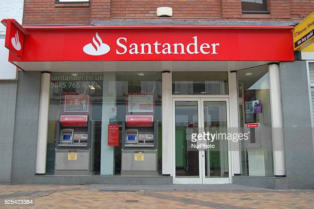 Morning light shining on a branch of the bank Santander UK in Stockport on Sunday 22nd February 2015 Santander UK is part of the global bank Banco...