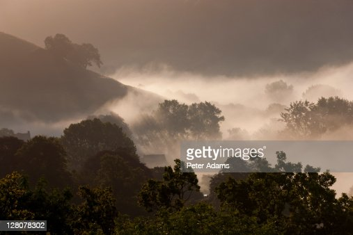 Morning mist, Coombe Valley, Gloucestershire, England, UK