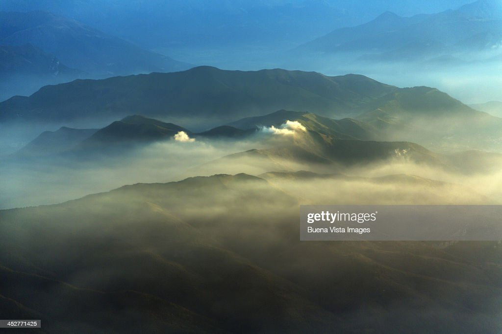 morning mist in the Swiss Alps