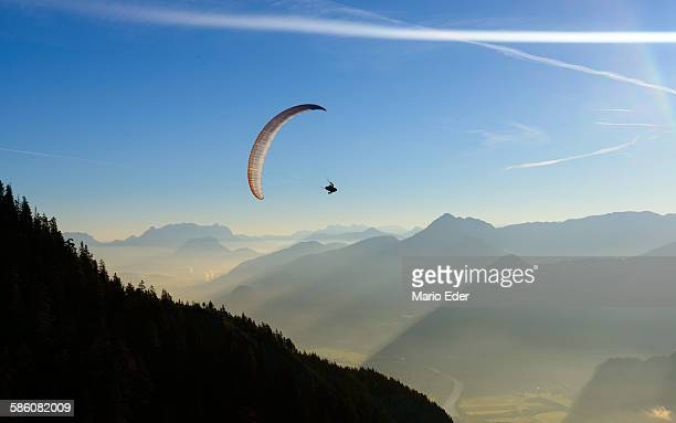 Morning paragliding flight