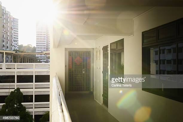 Morning rays at a HDB corridor