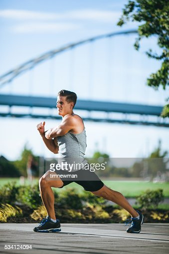Morning Run Stretches in Downtown Portland