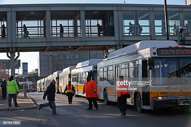 Morning rush hour train problems at the JFK/UMass MBTA station necessitated buses for the morning commute