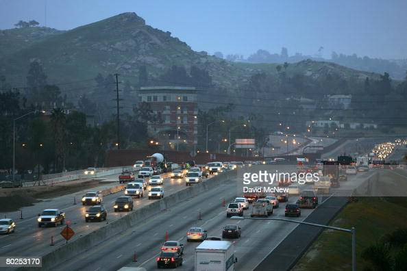 Morning rushhour traffic moves along the 60 freeway after Environmental Protection Agency Administrator Stephen L Johnson this week announced a...