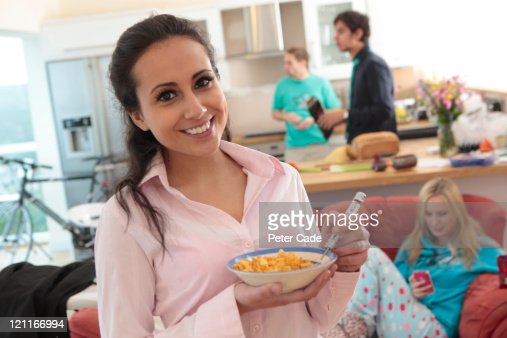 morning scene in mixed gender shared house : Stock Photo