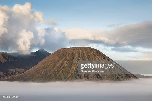 Morning scene of Mt. Batok with a sea of mist, East Java, Indonesia