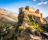 Morning scenery of a fortress in Corte, Corsica, Europe.