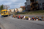 A morning school bus passes the site where Michael Brown was killed The northern St Louis suburb of Ferguson Missouri anxiously awaits a grand jury...