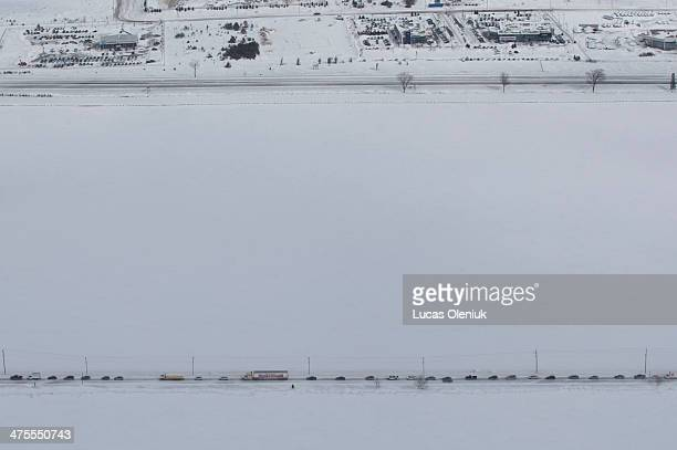 Morning snow squalls caused a 96 car pile up on highway 400 Thursday By early afternoon most of the cars were removed but the highway remains closed...