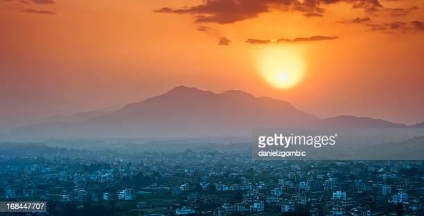 Morning sun above the Kathmandu Valley, Nepal