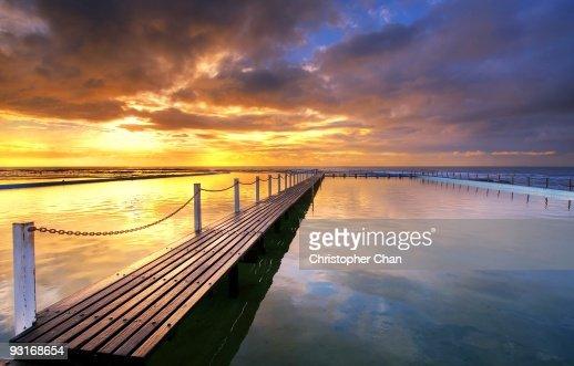 Morning Sun Reflecting on Seaside Pool