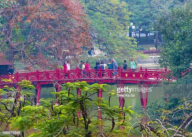 CONTENT] Morning Sunlight Bridge at Hoan Kiem Lake 'Lake of the Returned Sword' or 'Lake of the Restored Sword' in Hanoi Vietnam