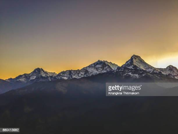 Morning sunrise over Annapurna Mountains ranges, Nepal.