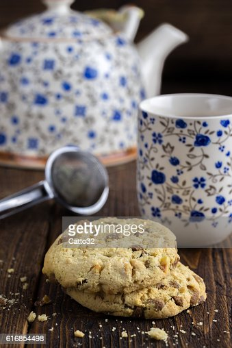 Morning tea with biscuits. : Stock Photo