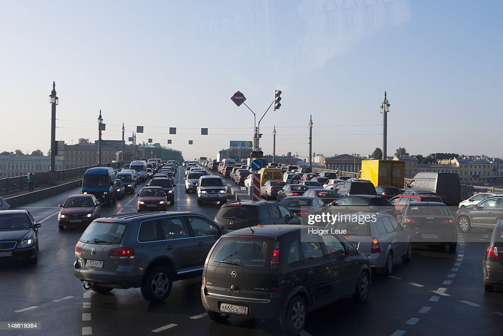 Morning traffic jam on bridge. : Stock Photo