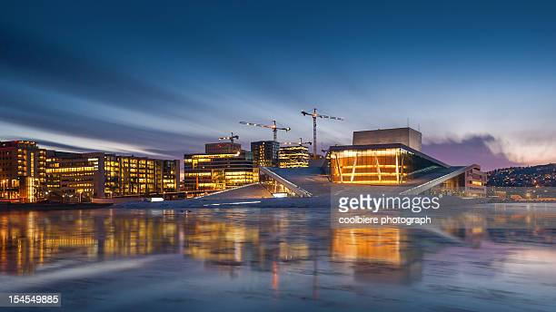 Morning view of Oslo opera house with reflection