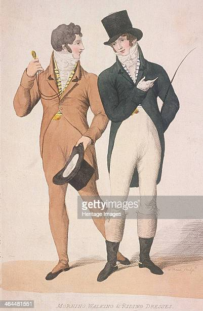 Morning walking and riding dresses c1810 Both men are wearing frock coats and cravats The man on the right is carrying a riding crop