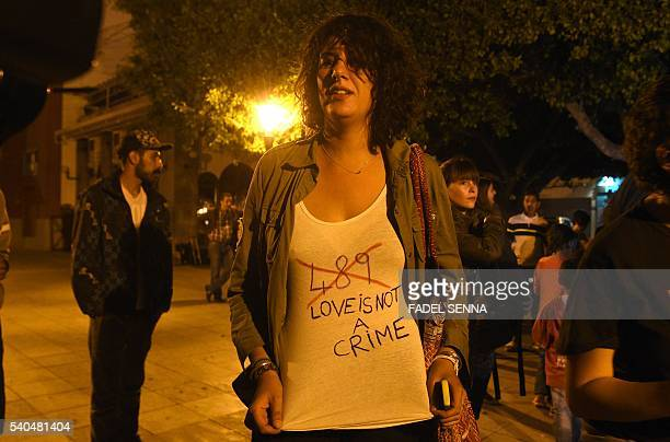 A Moroccan activists with the number 489 written on her shirt in reference to article 489 which stipulates that homosexuality is punishable in...
