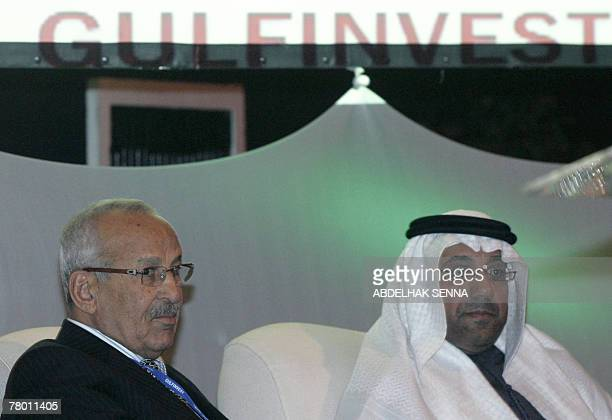 Moroccan businessman and president of Ynna Holding Miloud Chaabi and Salah alChamissi president of UAE's chamber of commerce and CEO of Al Qudra...