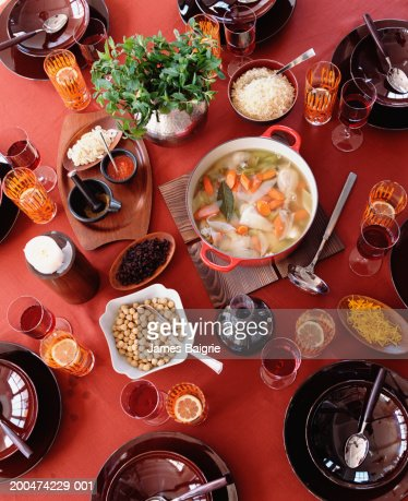 Moroccan chicken soup, overhead view : Stock Photo