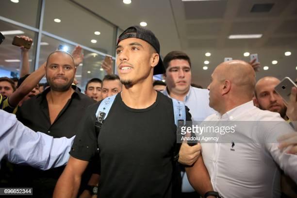 Moroccan footballer Nabil Dirar arrives at Ataturk International Airport in Istanbul Turkey on June 16 2017 Nabil Dirar was welcomed by Fenerbahce...