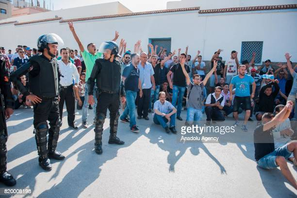 Moroccan forces take security measures as protesters stage a demonstration continue over 7 months in Al Hoceima Morocco on July 20 2017 People demand...