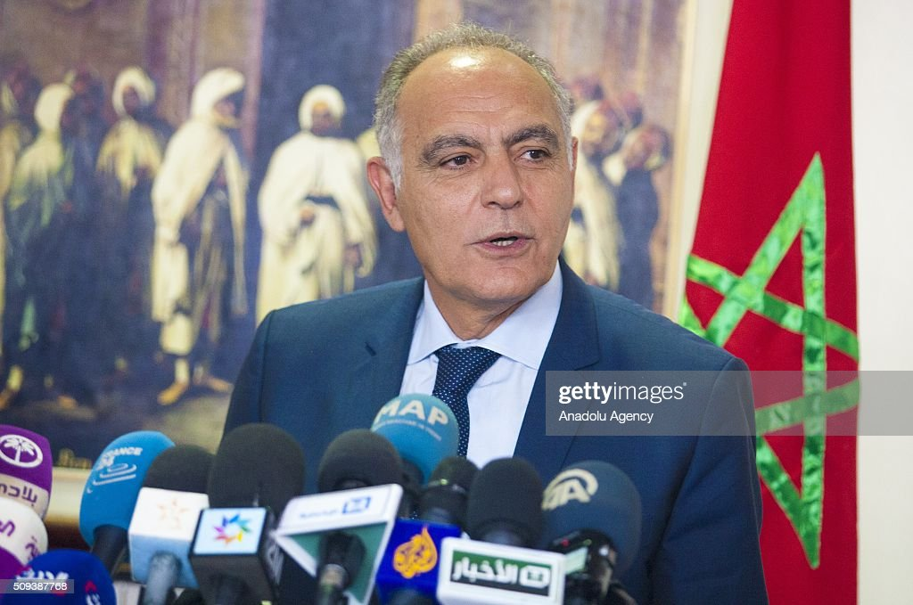 Moroccan Foreign Minister Salaheddine Mezouar delivers a speech during a joint press conference with Saudi Foreign Minister Adel al-Jubeir (not seen) after their meeting at the Moroccan Foreign Ministry in Rabat, Morocco on February 10, 2016.
