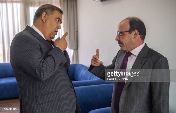 Moroccan Interior Minister Abdelouafi Laftit and Ilyas El Omari General Secretary of the Authenticity and Modernity Party speak following a meeting...