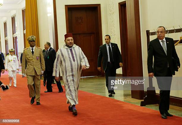 Moroccan King Mohammed VI arrives at the Great Hall of People on May 12 2016 in Beijing China