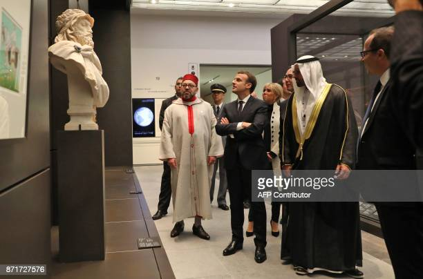 Moroccan King Mohammed VI French President Emmanuel Macron his wife Brigitte and Director General of Abu Dhabi's Tourism and Culture Authority...