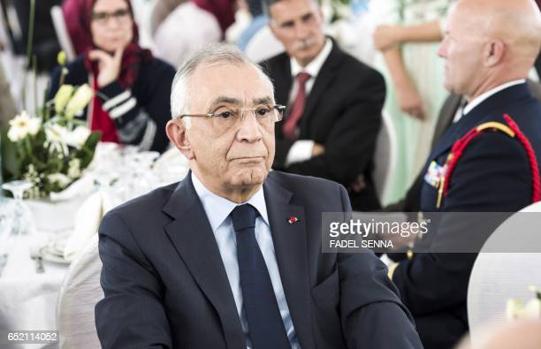 Moroccan King Mohammed VI's advisor Omar Azziman attends a speech given by Latifa Ibn Ziaten president of the French IMAD association and mother of...