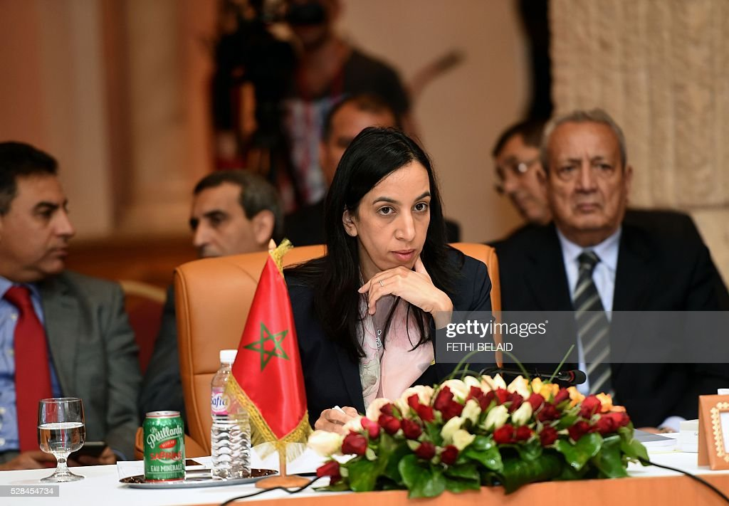 Moroccan Minister Delegate to the Minister of Foreign Affairs and Cooperation, Mbarka Bouaida attends the 34th Council of Foreign Ministers from the Arab Maghreb Union (UMA) on May 5, 2016 in Tunis. / AFP / FETHI