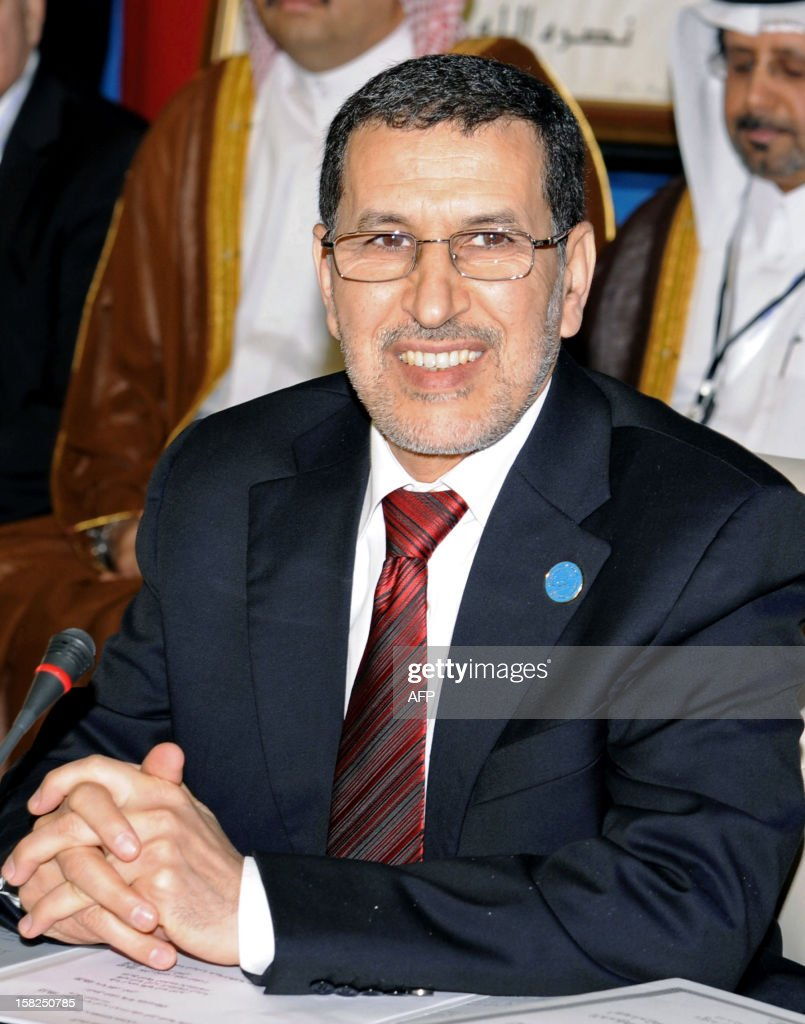 Moroccan Minister for Foreign Affairs and Cooperation, Saad-Eddine El Othmani (C) attends a conference of the Friends of Syria group meeting of Arab and Western states in Marrakesh on December 12, 2012. Countries opposed to President Bashar al-Assad's regime met in Morocco for talks on Syria's 21-month conflict after the US gave official backing to a new opposition bloc.