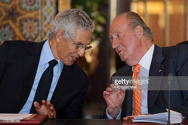 Moroccan Minister of Higher education Lahcen Daoudi meets with Spain's King Juan Carlos on July 172013 in the Moroccan city of Rabat The...