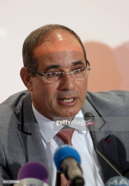 Moroccan national team manager Badou Ezzaki holds a press conference on August 28 2014 in Rabat ahead of his two friendly football matches next...