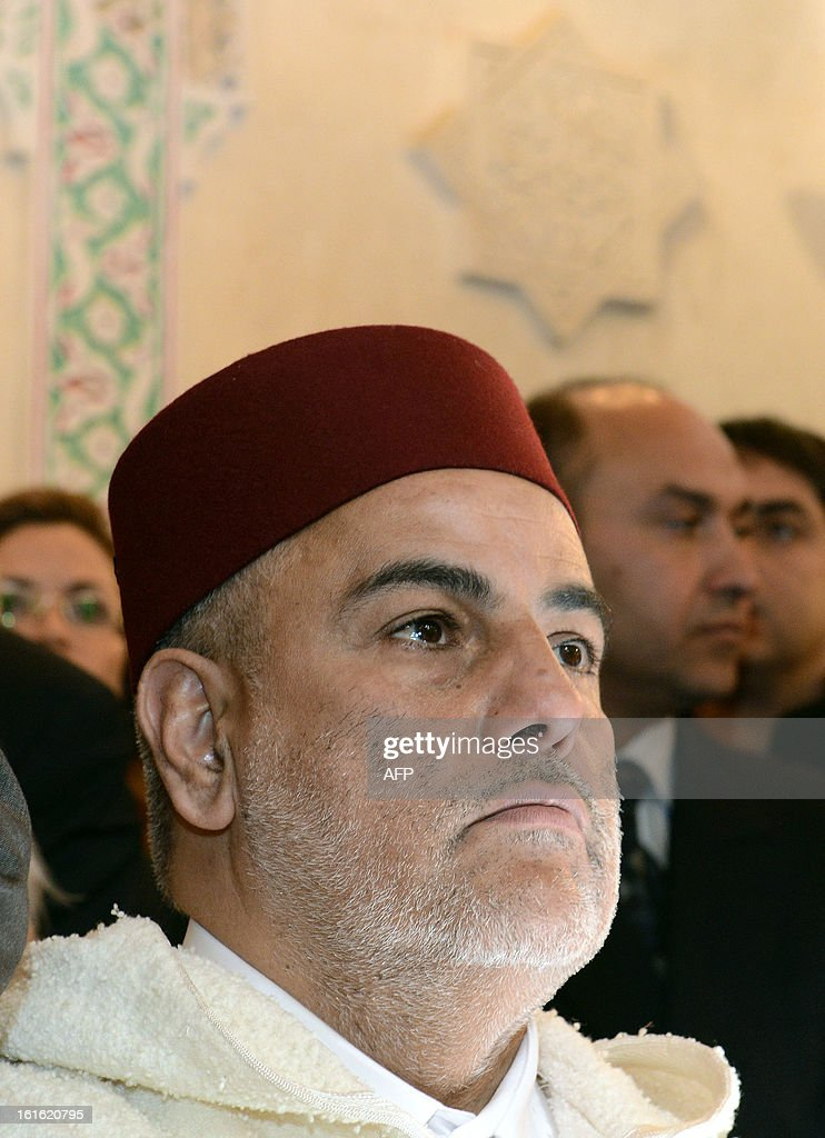 Moroccan Prime Minister Abdelilah Benkirane attends the inauguration of the Slat Alfassiyine synagogue in the northern city of Fez, on February 13, 2013. The two-year restoration of the 17th century synagogue bore 'eloquent testimony to the spiritual wealth and diversity of the Kingdom of Morocco and its heritage,' Moroccan King Mohammed said in a message read by Benkirane. AFP PHOTO/FADEL SENNA