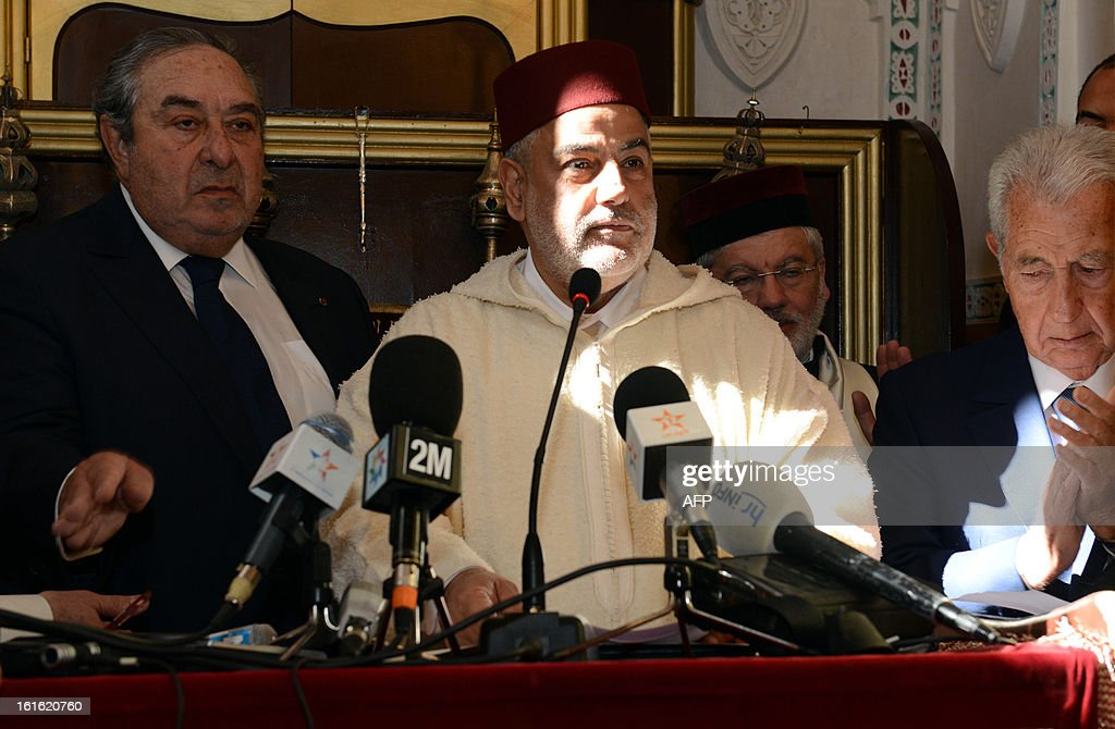 Moroccan Prime Minister Abdelilah Benkirane (C) gives a speech during inauguration of the Slat Alfassiyine synagogue in the northern city of Fez, on February 13, 2013. The two-year restoration of the 17th century synagogue bore 'eloquent testimony to the spiritual wealth and diversity of the Kingdom of Morocco and its heritage,' Moroccan King Mohammed said in a message read by Benkirane.