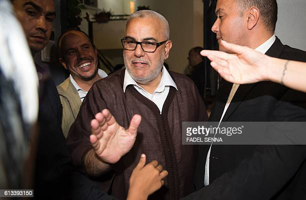 Moroccan Prime Minister and Secretary General of the ruling Islamist Justice and Development Party Abdelilah Benkirane thanks his supporters outside...