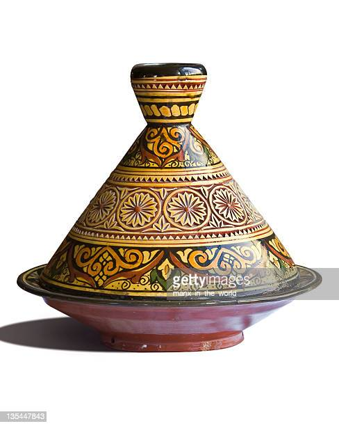 Moroccan tagine on white background